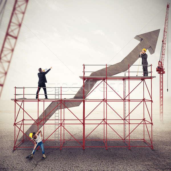 Construir negócio sucesso misto mídia trabalho em equipe Foto stock © alphaspirit