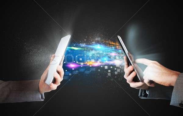 Küld média akták telefonok telefon technológia Stock fotó © alphaspirit