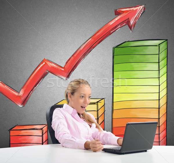 Sorprendido estadística mujer de negocios presupuesto negocios oficina Foto stock © alphaspirit