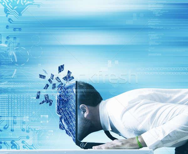 Computador empresário olhando internet cara fundo Foto stock © alphaspirit