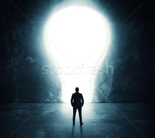 Stockfoto: Gloeilamp · deur · zakenman · groot · gat