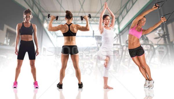 Fitness treningu kobiet trenerem muskularny ciało Zdjęcia stock © alphaspirit