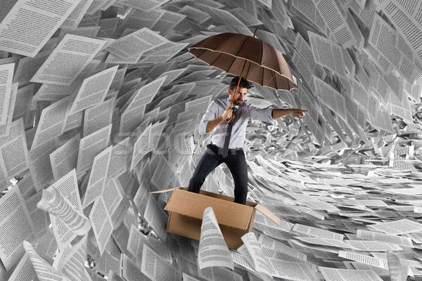Tempête bureaucratie homme voile carton Photo stock © alphaspirit