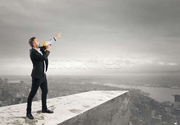 Authoritarian announcement to the megaphone Stock photo © alphaspirit