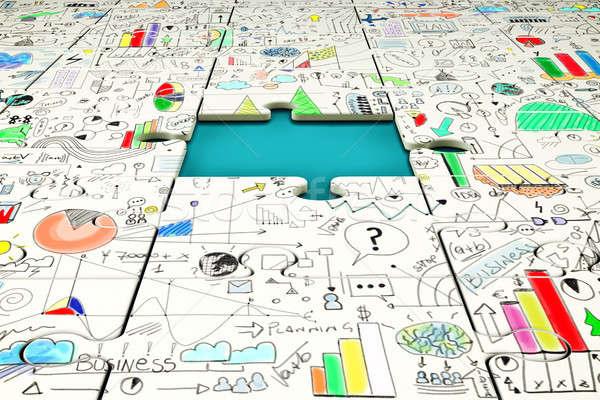 Hiányzó darab puzzle statisztika rajzolt fölött Stock fotó © alphaspirit