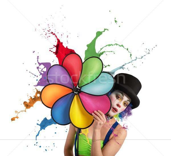 Clown Rainbow femme fille Photo stock © alphaspirit