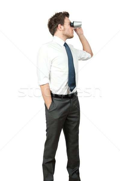 Empresario mirando negocios blanco Trabajo ver Foto stock © alphaspirit