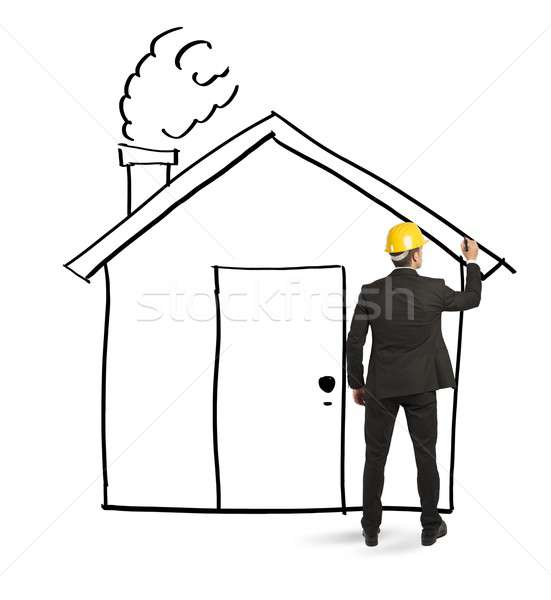 Architect drawing home Stock photo © alphaspirit