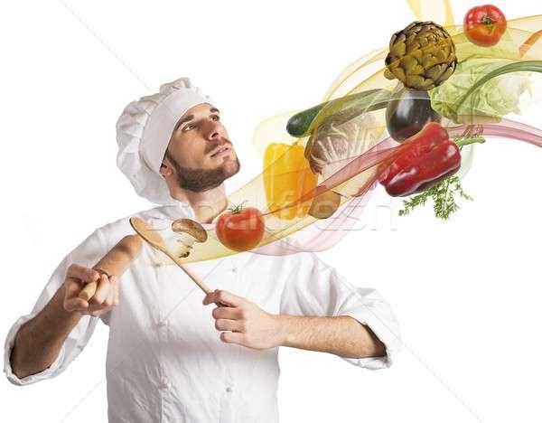 étel harmónia kreatív szakács férfi hegedű Stock fotó © alphaspirit