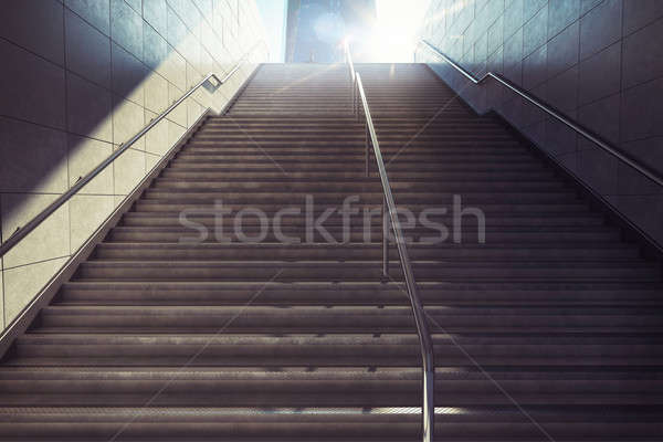 3D Rendering of city stairs Stock photo © alphaspirit