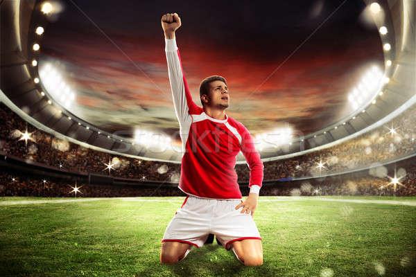Nyertes futball futballista stadion közönség naplemente Stock fotó © alphaspirit