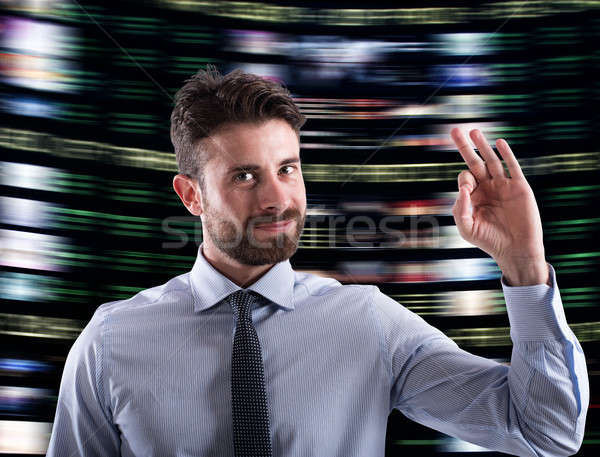 Businessman has success on financial affairs Stock photo © alphaspirit