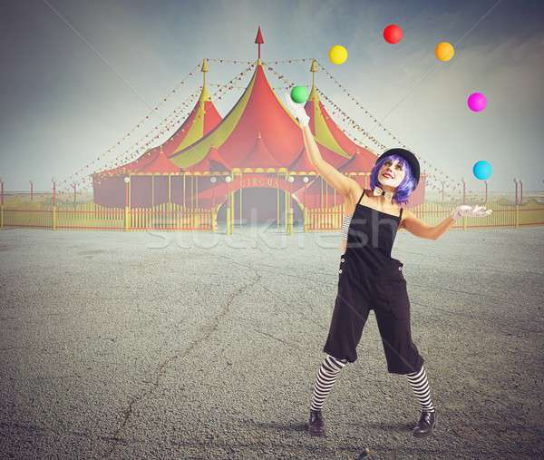 Jester clown in front of circus tent Stock photo © alphaspirit