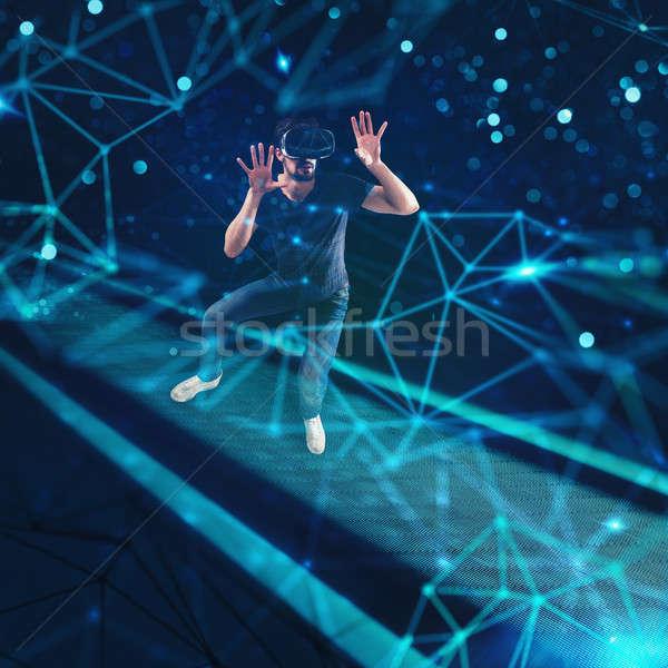 Boy addicted to internet estranged from the world Stock photo © alphaspirit
