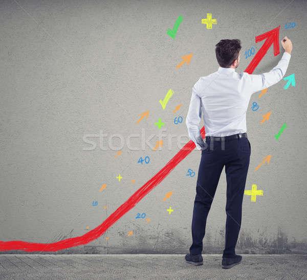 Empresario positivo estadística empresa éxito inicio Foto stock © alphaspirit