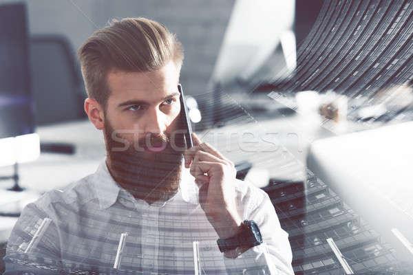 üzletember beszél telefon iroda dupla kitettség Stock fotó © alphaspirit