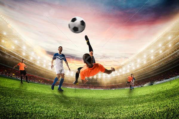 Футбол мяча акробатический велосипед 3D Сток-фото © alphaspirit