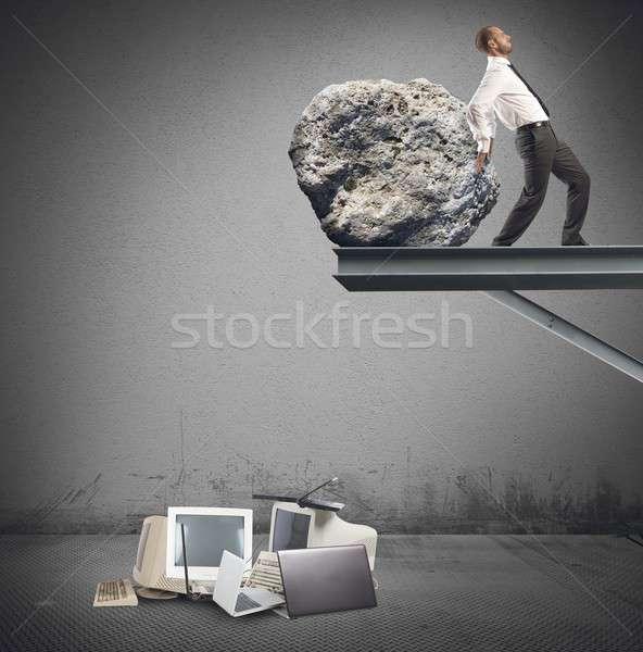 Businessman destroy technology Stock photo © alphaspirit