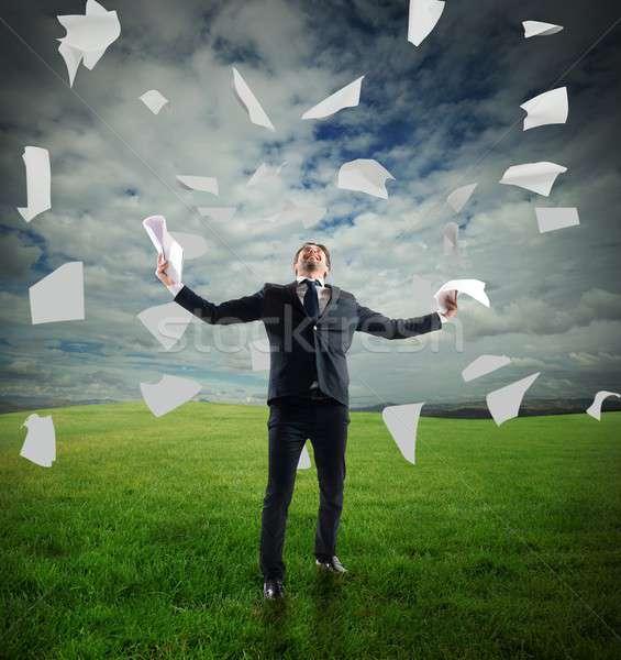 Businessman  rejoices Stock photo © alphaspirit