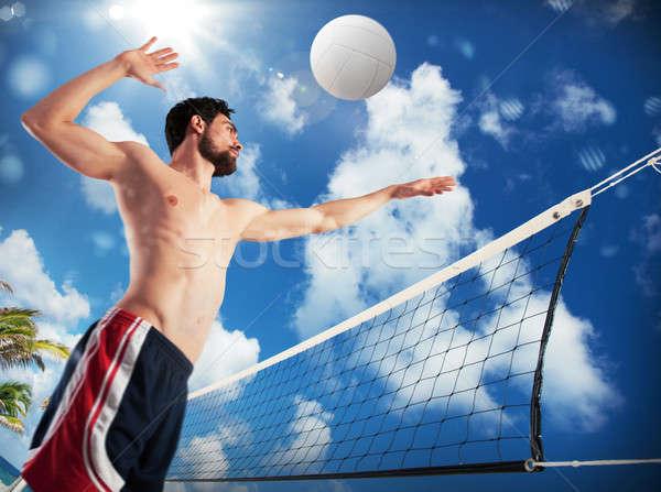 Menino jogar voleibol praia homem Foto stock © alphaspirit