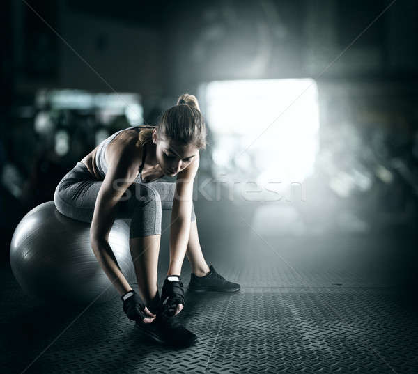 Workout with fitness ball Stock photo © alphaspirit