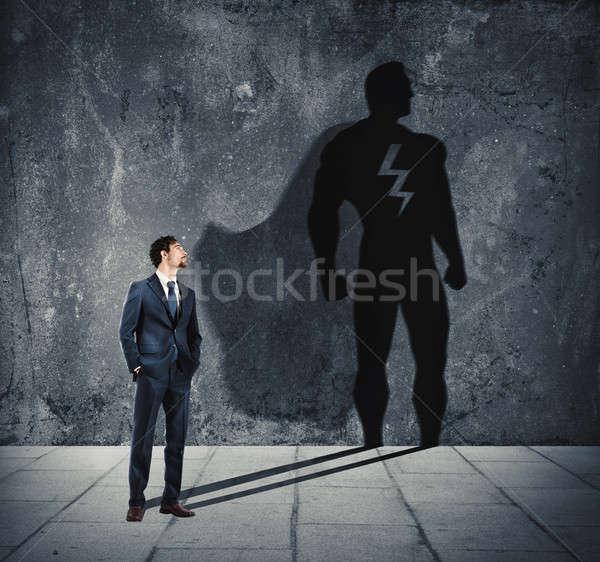 ビジネスマン 影 スーパーヒーロー 壁 パワフル 男 ストックフォト © alphaspirit