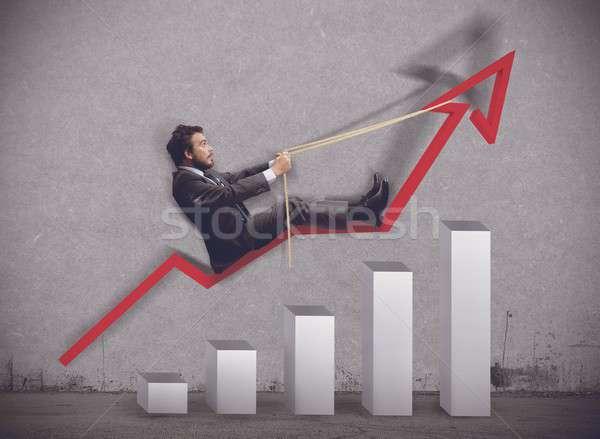 Zakenman economie manager pijl touw winnaar Stockfoto © alphaspirit