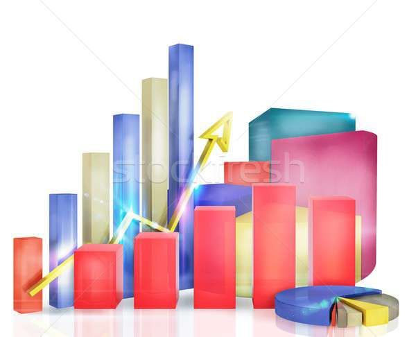 Graphs measure the economic and financial growth Stock photo © alphaspirit
