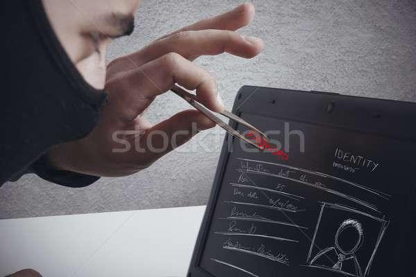 пароль бизнеса компьютер человека работу ноутбука Сток-фото © alphaspirit