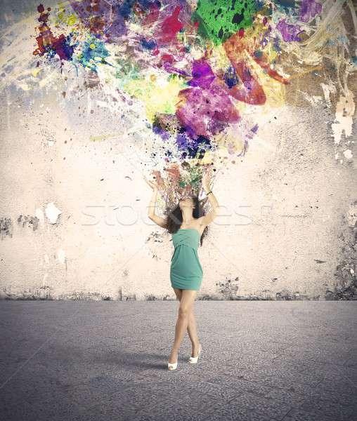 Moda creatività esplosione creativo ragazza acqua Foto d'archivio © alphaspirit