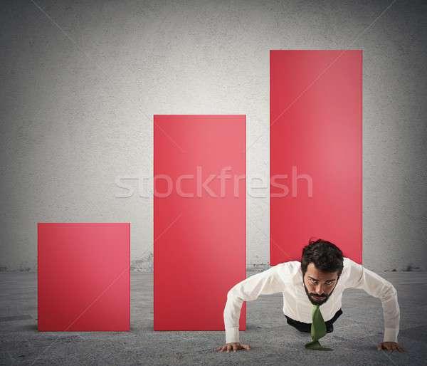 Profit kimerültség üzletember statisztikai görbület pénz Stock fotó © alphaspirit