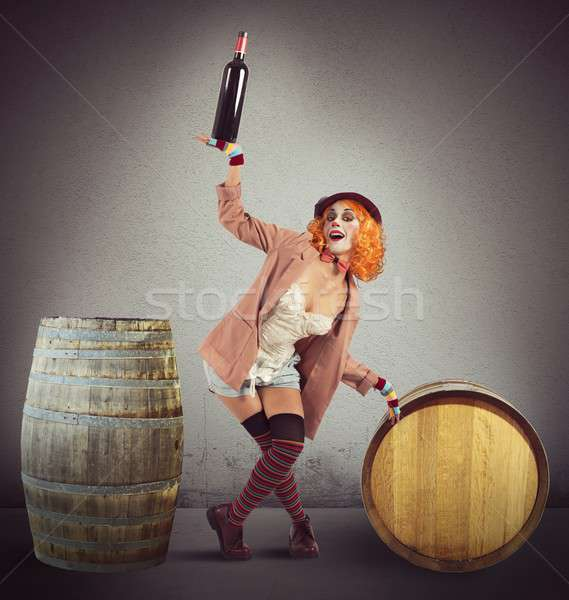Funny drunk clown Stock photo © alphaspirit