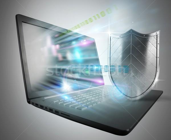 Firewall antivirus ordenador escudo luz portátil Foto stock © alphaspirit