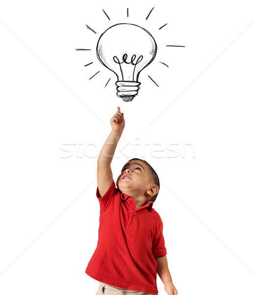 Genie Kind Punkte Glühbirne gezeichnet über Stock foto © alphaspirit