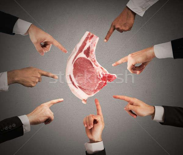 Negatywne wyrok mięsa człowiek plaster Zdjęcia stock © alphaspirit