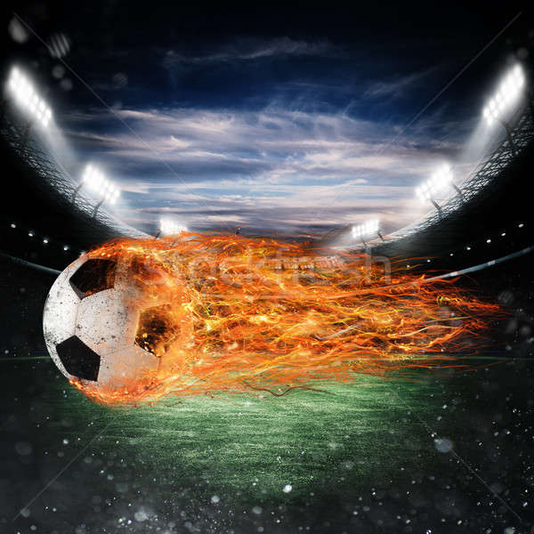 Soccer ball of fire at the stadium Stock photo © alphaspirit