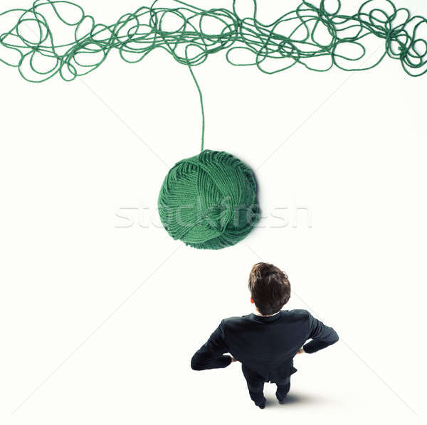 Concept of solution and innovation with wool ball Stock photo © alphaspirit