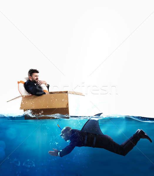 Medo crise negócio competição empresário cartão Foto stock © alphaspirit