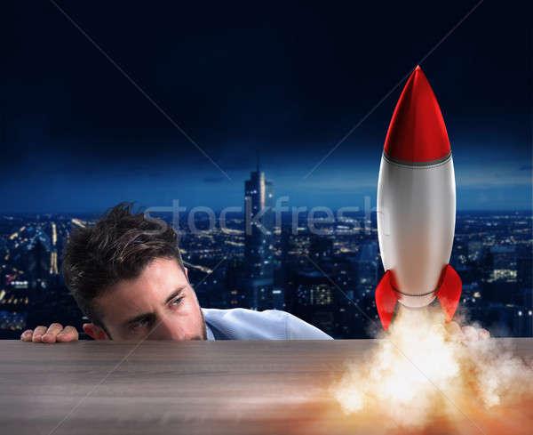 Startup új cég rakéta üzlet üzletember Stock fotó © alphaspirit