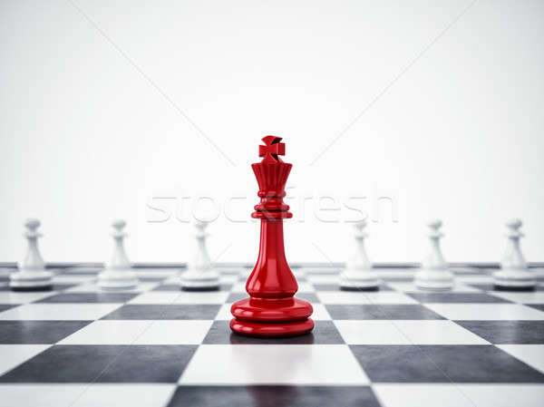 Red pawn ahead of white pawns. 3D Rendering Stock photo © alphaspirit