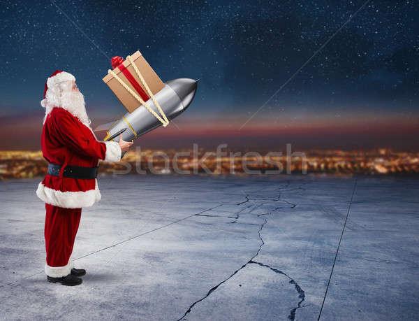 Gyors házhozszállítás karácsony ajándékok mikulás kész Stock fotó © alphaspirit