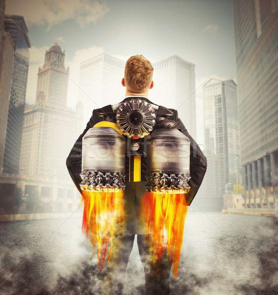 Empresario volar listo lejos negocios fuego Foto stock © alphaspirit