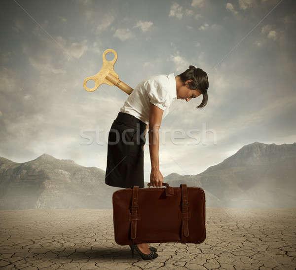 Kimerült üzletasszony sivatag nő óra munka Stock fotó © alphaspirit