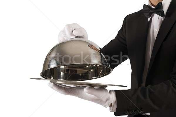 Első osztály szolgáltatás fehér munka fém étterem Stock fotó © alphaspirit