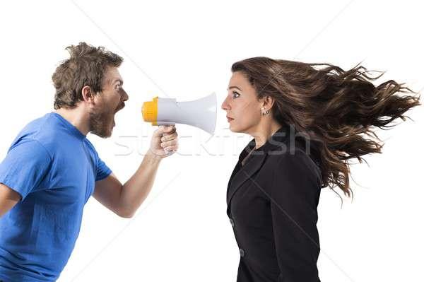 Shouting to a woman Stock photo © alphaspirit