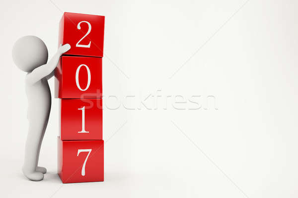 3D Rendering new year 2017 Stock photo © alphaspirit