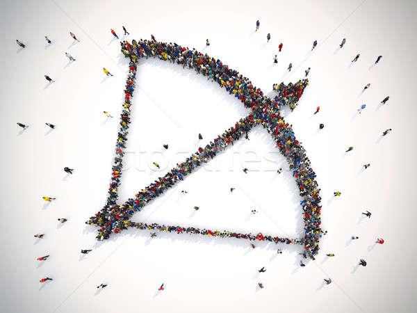 3D стрелка люди лучник знак Сток-фото © alphaspirit
