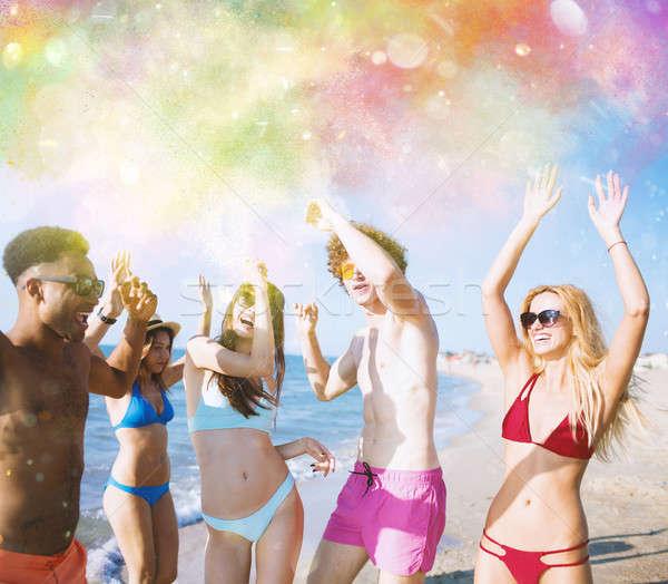 Grupo amigos dançar cor salpico pó Foto stock © alphaspirit