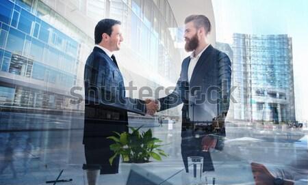 Foto stock: Empresário · escritório · trabalho · em · equipe · dobrar · exposição