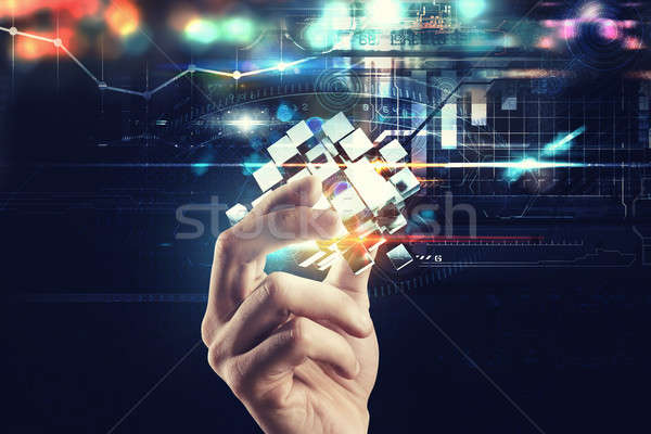 Innovatie digitale wereld hand abstract Stockfoto © alphaspirit